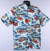 Surfer, Woody and Surfboard Hawaiian shirts and Aloha Shirts