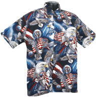 Patriotic flag and eagle Hawaiian shirt