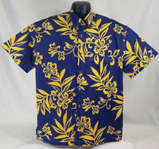 Navy with Gold Flowers Aloha Shirt