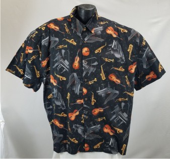 Musical instruments themed Hawaiian shirt