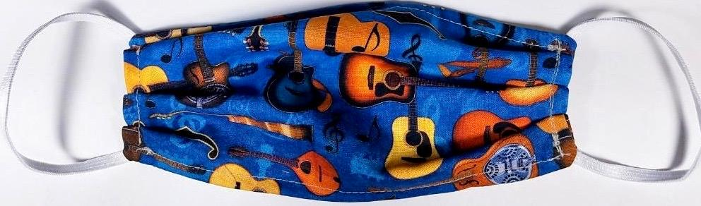 Guitar Themed Face Mask  Made in USA of 100% Cotton
