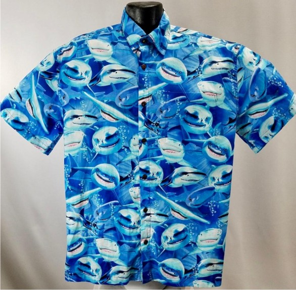 Sharks Hawaiian Shirt  (L and Xl Only)