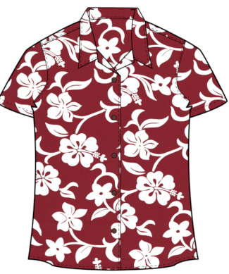 Classic Red Hibiscus Women's Hawaiian Shirt