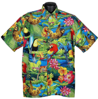 Rainforest Toucan and parrot Hawaiian shirt