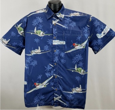 WW11 Aircraft, bombers, and fighters Hawaiian   Aloha Shirt