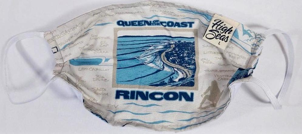 Rincon Beach Surfing  Mask   100% Cotton Made in USA