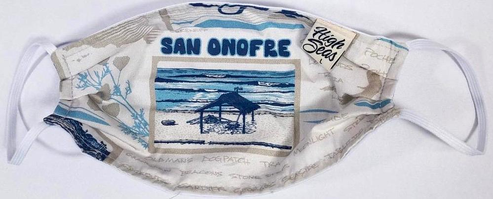 San Onofre Surfing  Mask   100% Cotton Made in USA