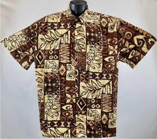Tapa  Retro bark Cloth Hawaiian Aloha Shirt