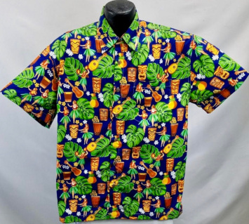 Tiki and Hula Girl Hawaiian shirt