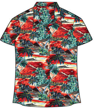 Women's Island Sunset Vintage Hawaiian Shirt