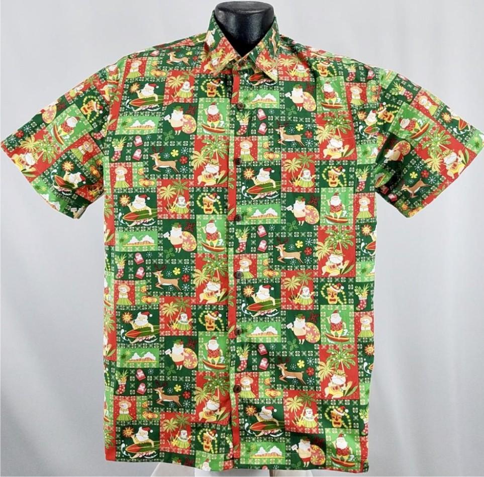Christmas Hawaiian Shirts.Island Christmas Hawaiian Shirt Green
