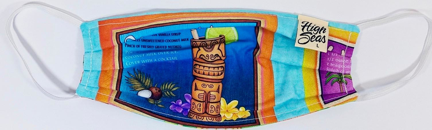 Tiki Drinks face mask  Made in USA of 100% Cotton