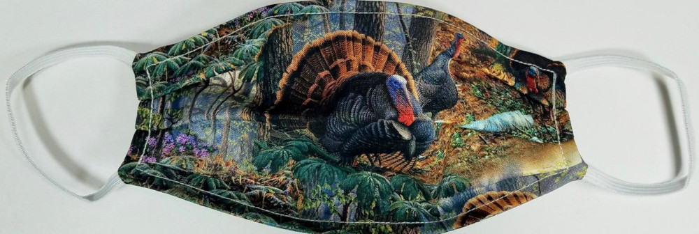 Thanksgiving Turkey themed Face Mask  Made in USA of 100% Cotton