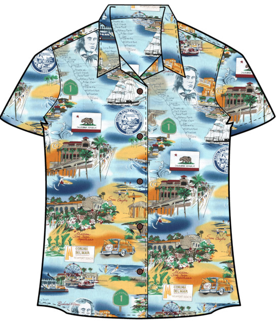 Women's Orange County Beach Cities Hawaiian Shirt